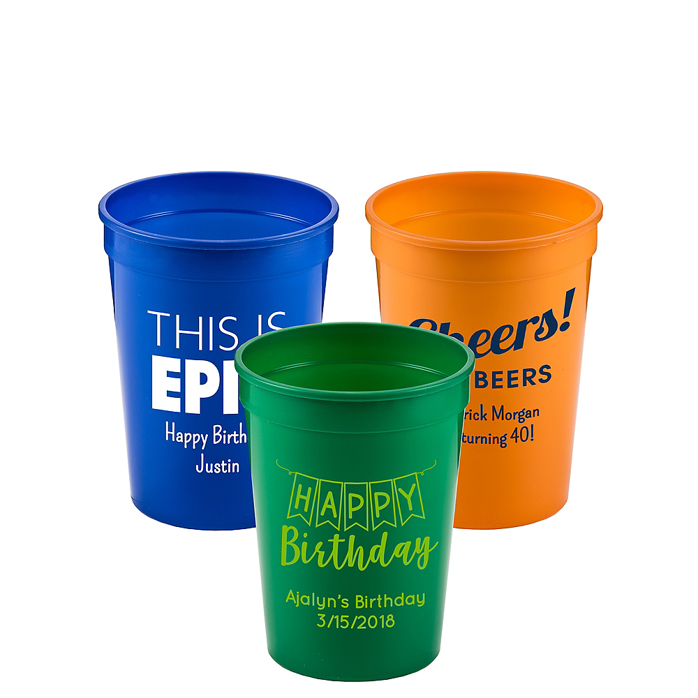 Personalized Birthday Plastic Stadium Cups 12oz Image #1