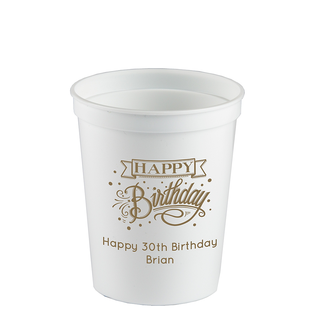 Personalized Birthday Plastic Stadium Cups 16oz Image #1