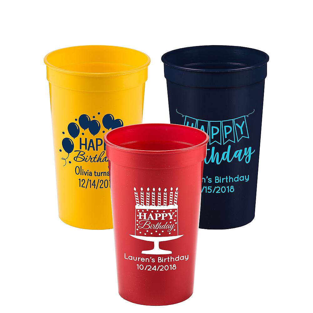 Personalized Birthday Plastic Stadium Cups 22oz Image #1