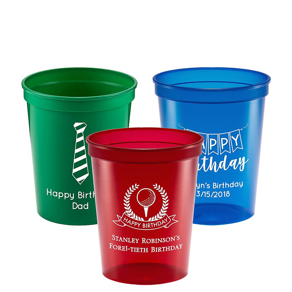 Personalized Birthday Translucent Plastic Stadium Cups 16oz Image #1