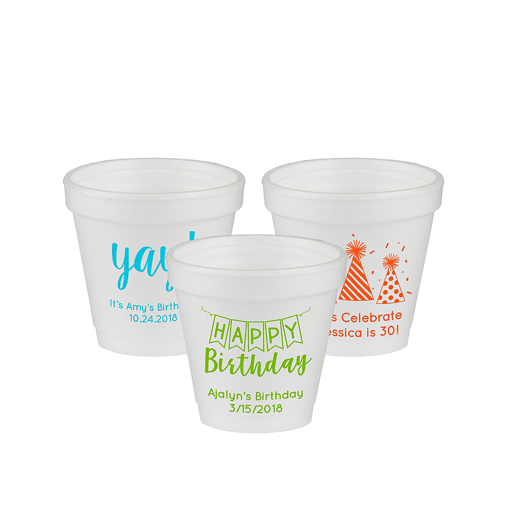 Personalized Birthday Foam Cups 4oz Image #1