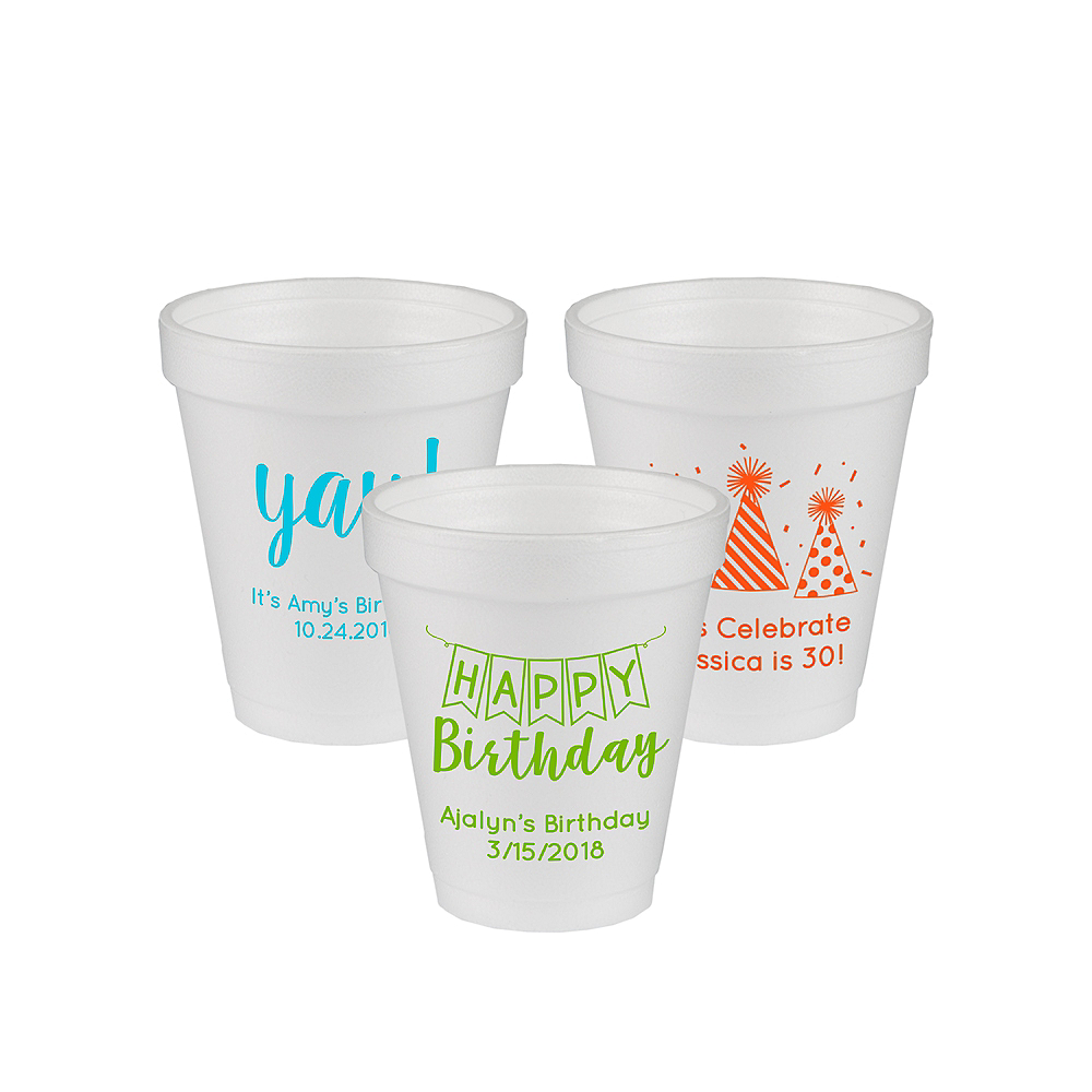 Nav Item for Personalized Birthday Foam Cups 6oz Image #1