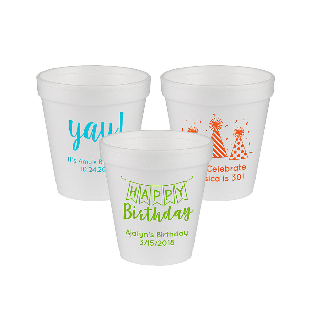 Nav Item for Personalized Birthday Foam Cups 10oz Image #1