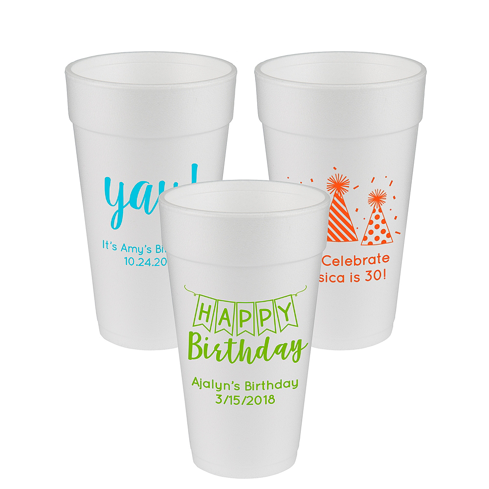 Personalized Birthday Foam Cups 20oz Image #1
