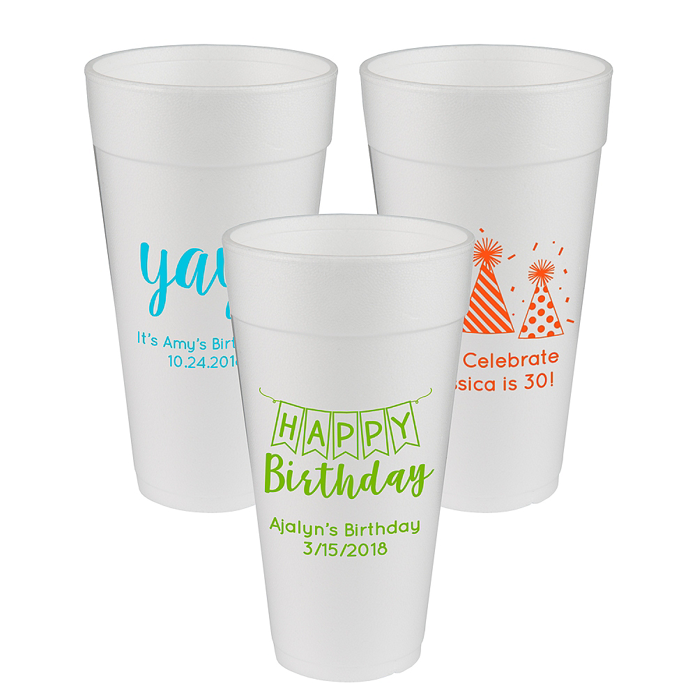 Personalized Birthday Foam Cups 24oz Image #1