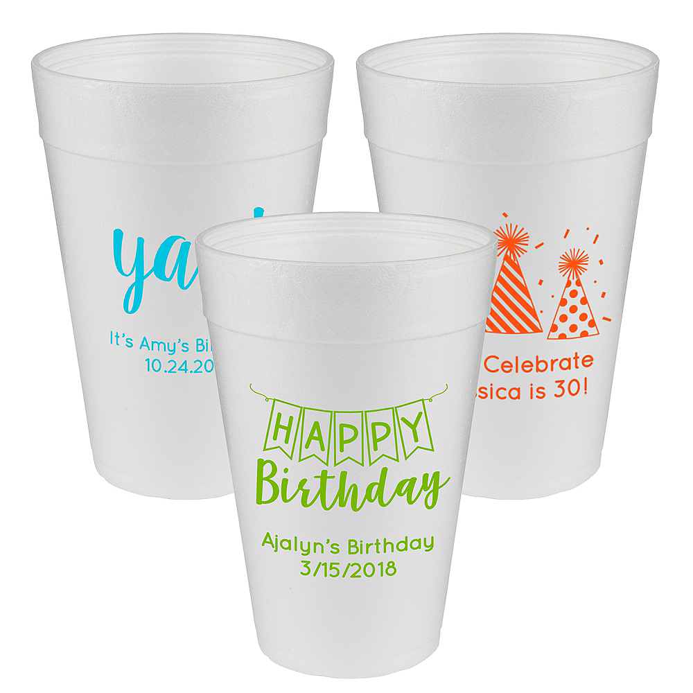 Nav Item for Personalized Birthday Foam Cups 32oz Image #1