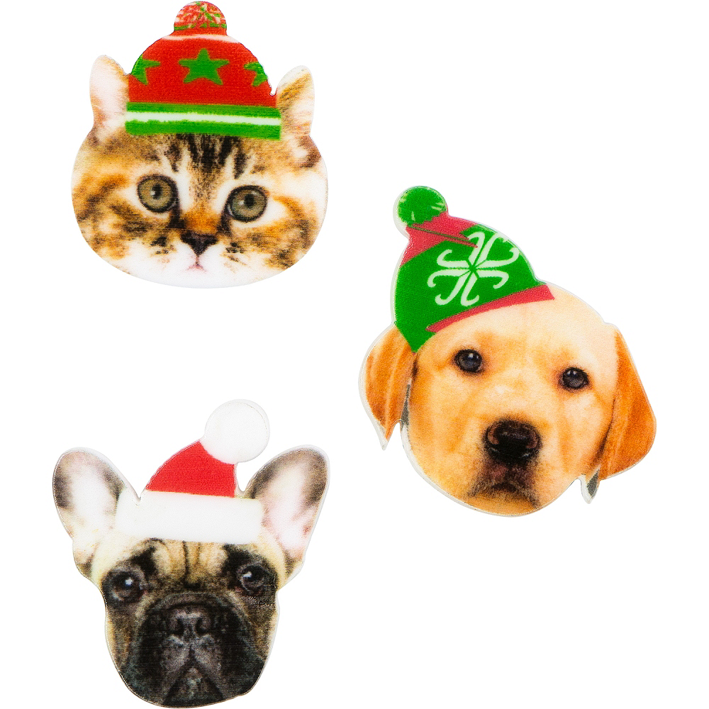 Dogs & Cat Christmas Pins 3ct Image #1