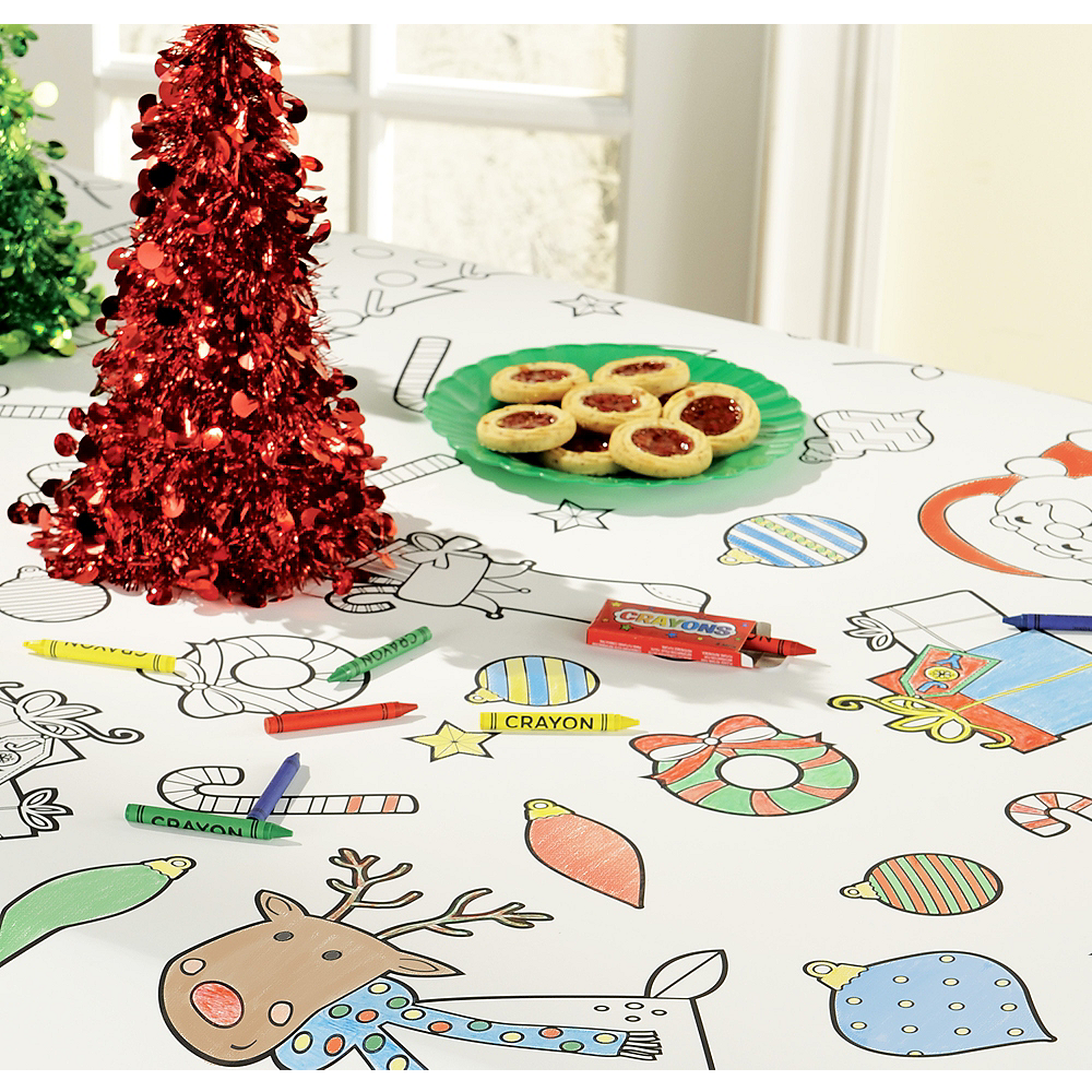 Coloring Christmas Paper Table Cover Image #1