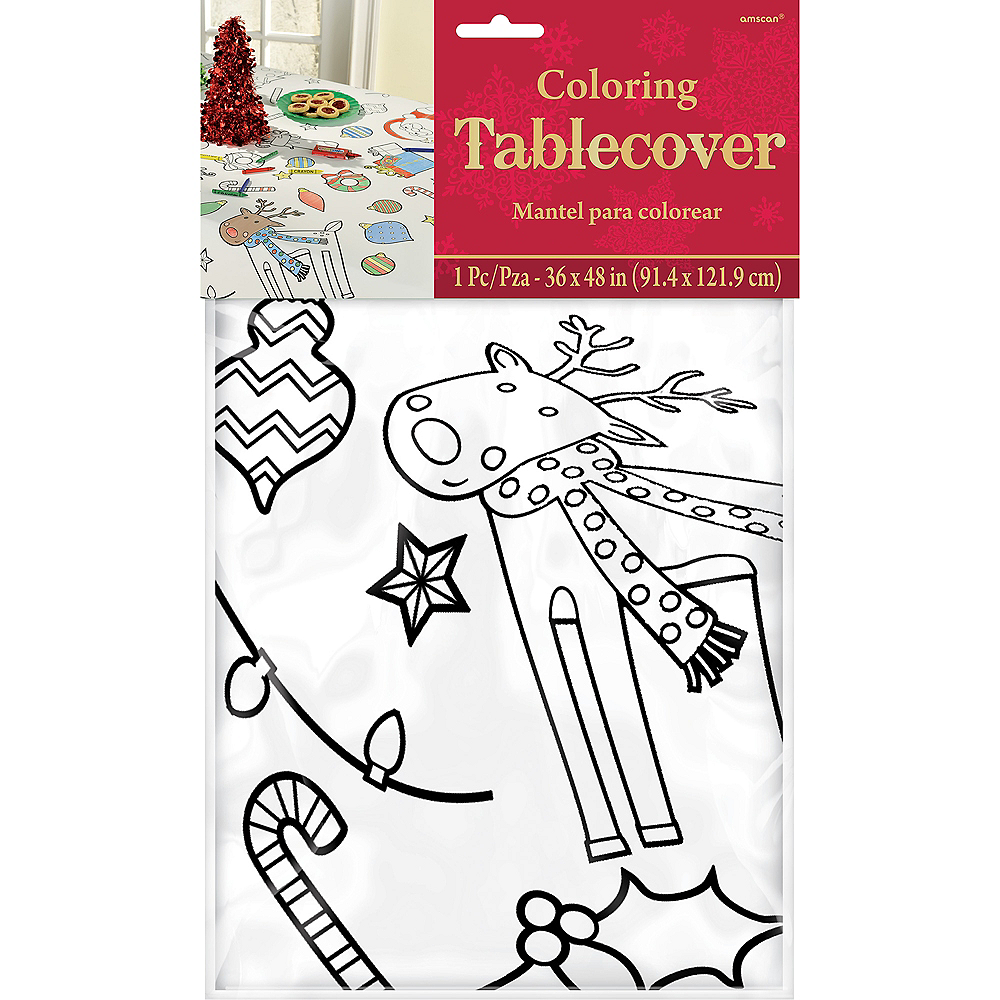 Coloring Christmas Paper Table Cover Image #2