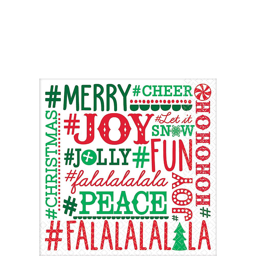 Holiday Hashtags Beverage Napkins 16ct Image #1