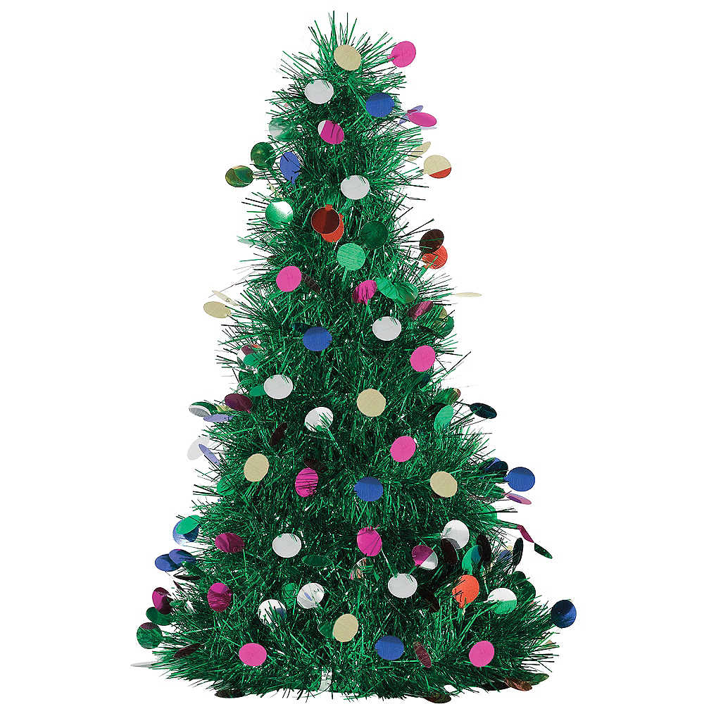 Colorful Tinsel Christmas Tree Decoration Image 1