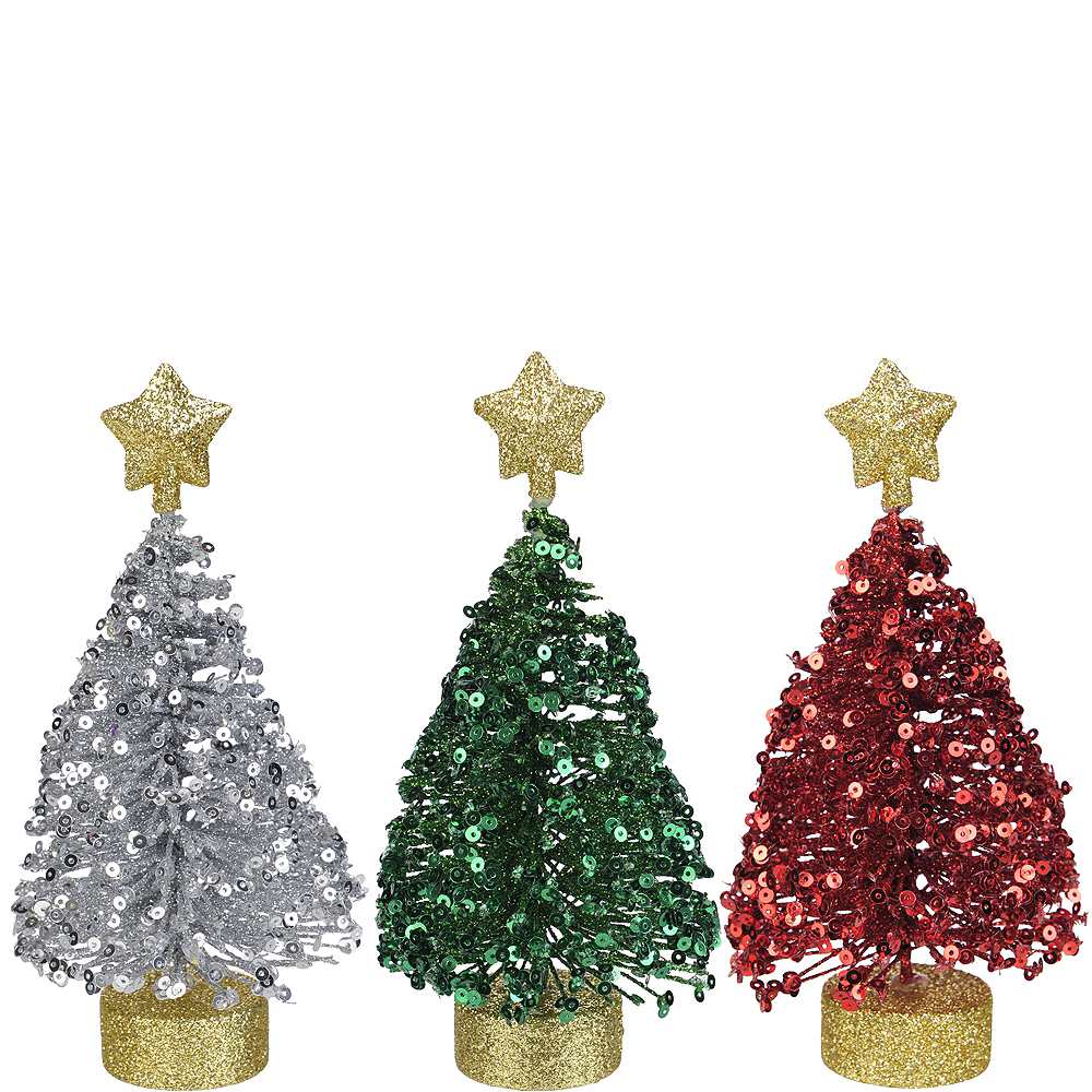 Sequin Christmas Tree Decorations 3ct Image #1