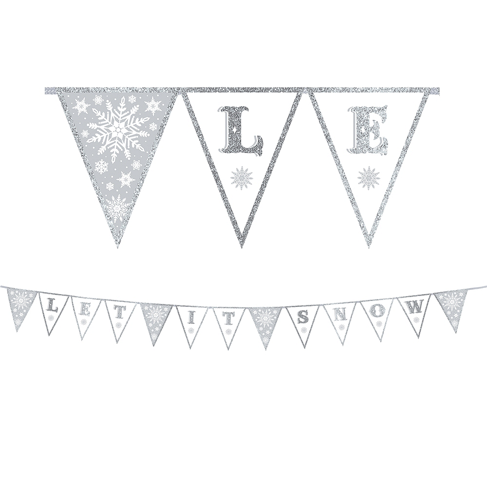 Glitter Let It Snow Pennant Banner Image #1