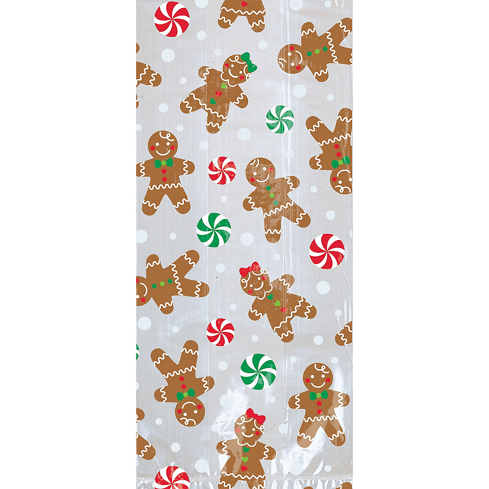 Large Gingerbread Christmas Treat Bags 20ct Image #1