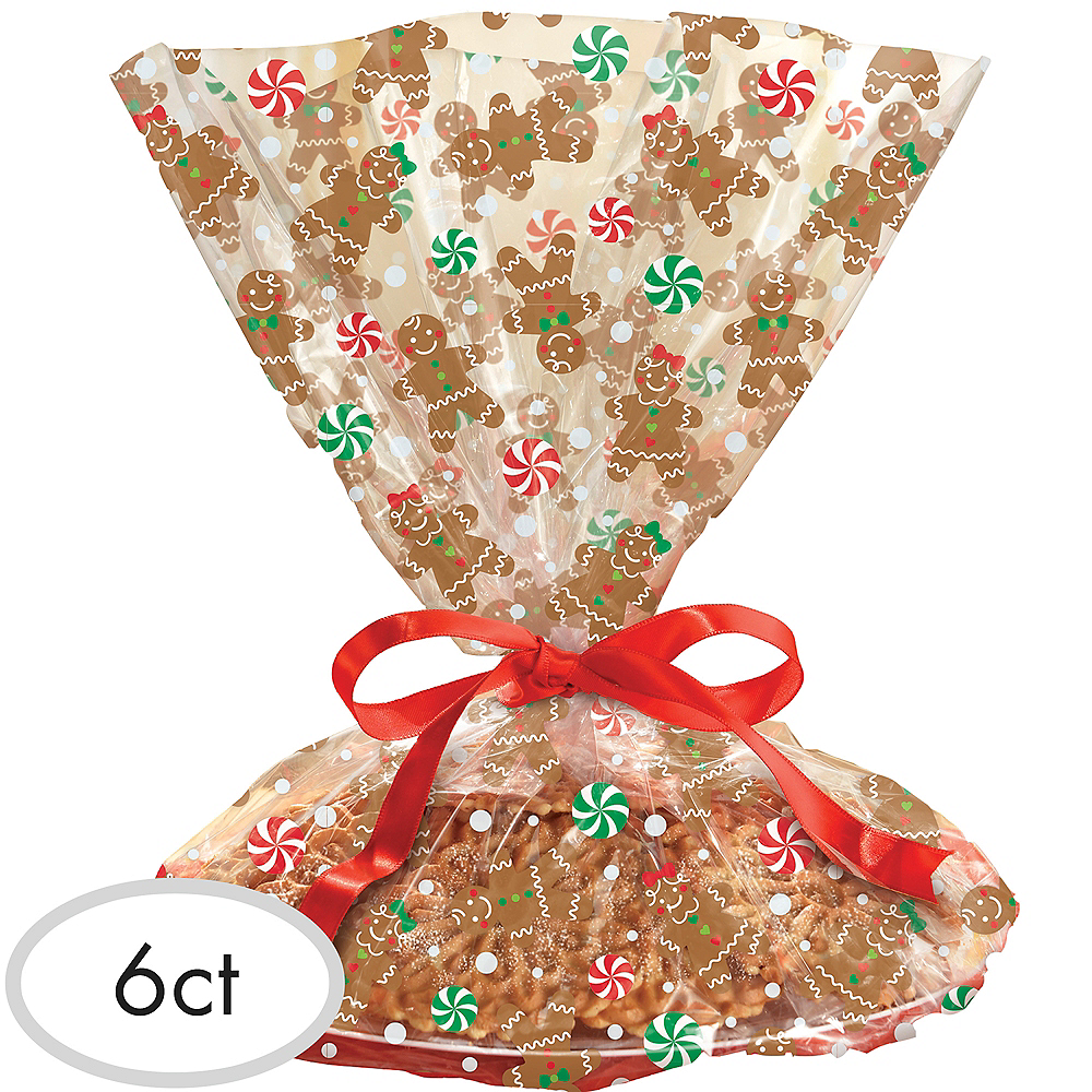 Gingerbread Christmas Treat Tray Bags 6ct Image #1