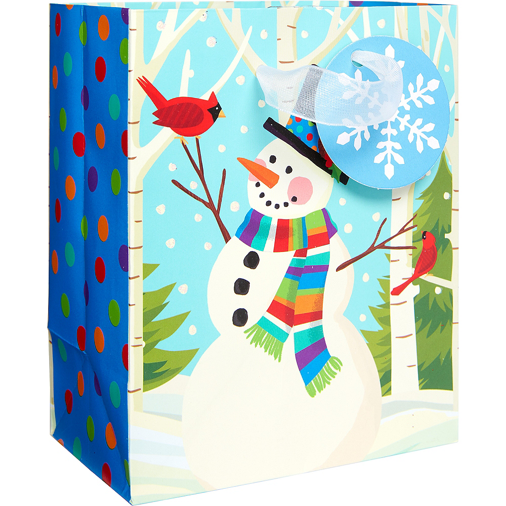 Mini Colorful Smiling Snowman Gift Bag 4 1/2in x 5 1/2in | Party ...