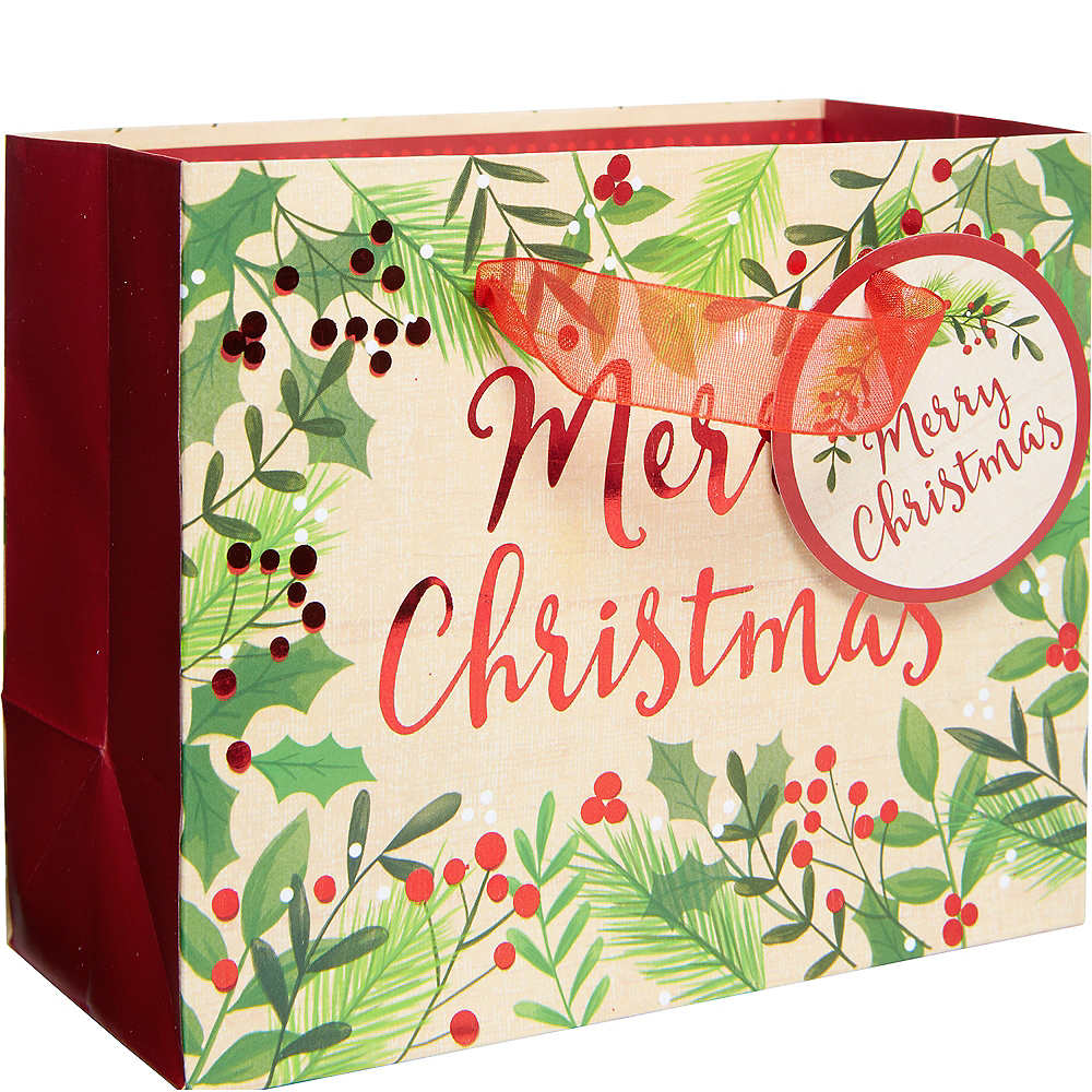 Christmas Gift Bags.Mini Holly Merry Christmas Gift Bag