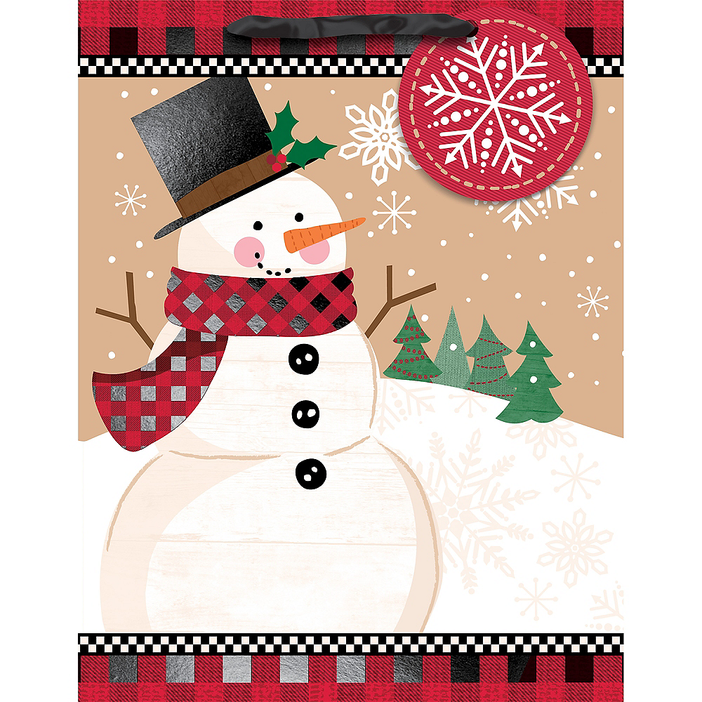 Small Winter Wonder Snowman Gift Bag 7in x 9in | Party City