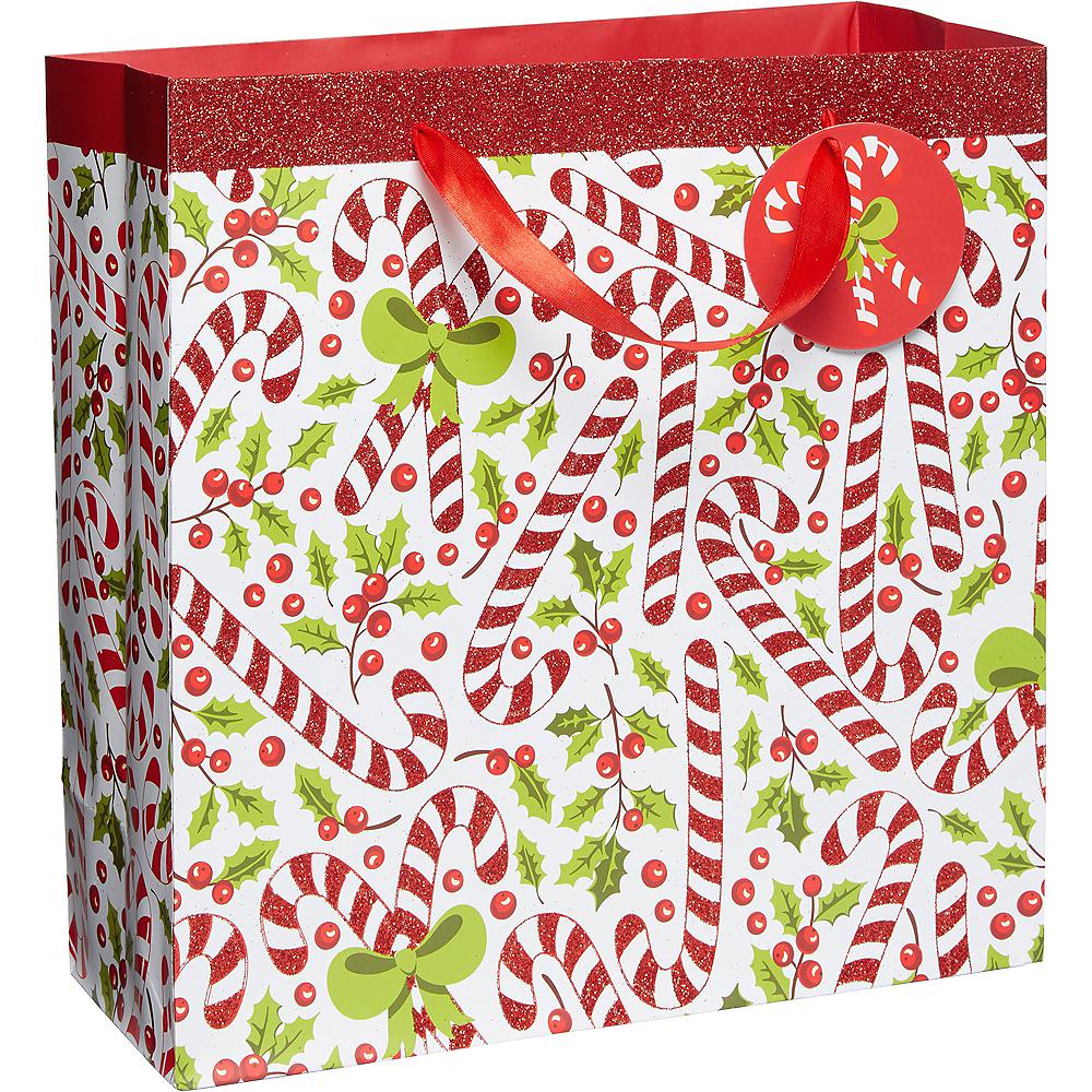 Glitter Candy Cane Christmas Gift Bag Image #1