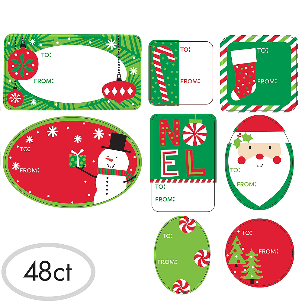 Jolly Christmas Adhesive Gift Tags 48ct | Party City