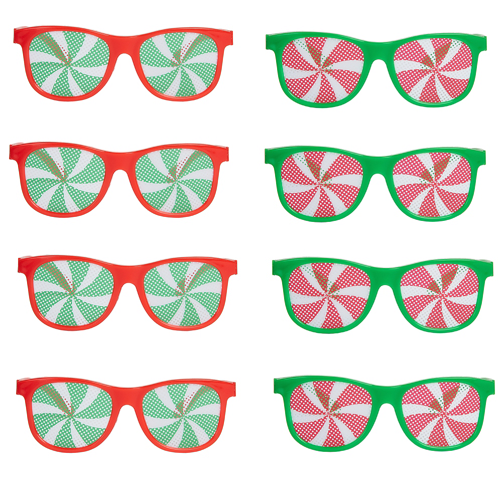 Green & Red Christmas Printed Glasses 10ct Image #1