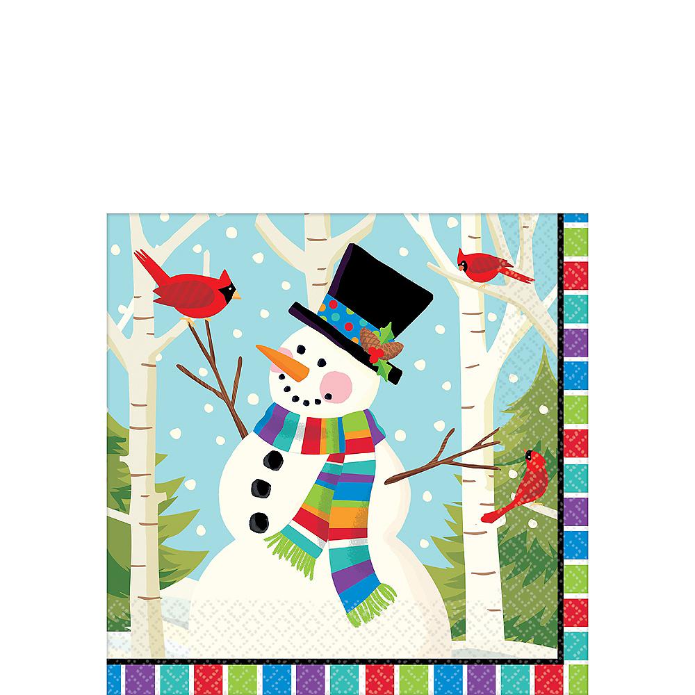 Colorful Smiling Snowman Beverage Napkins 125ct Image #1