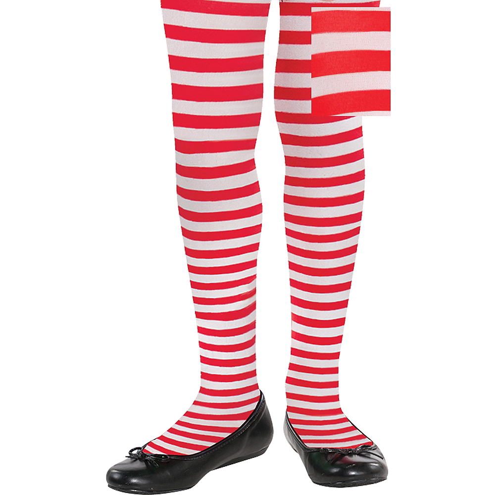 Child Red & White Striped Tights Image #1
