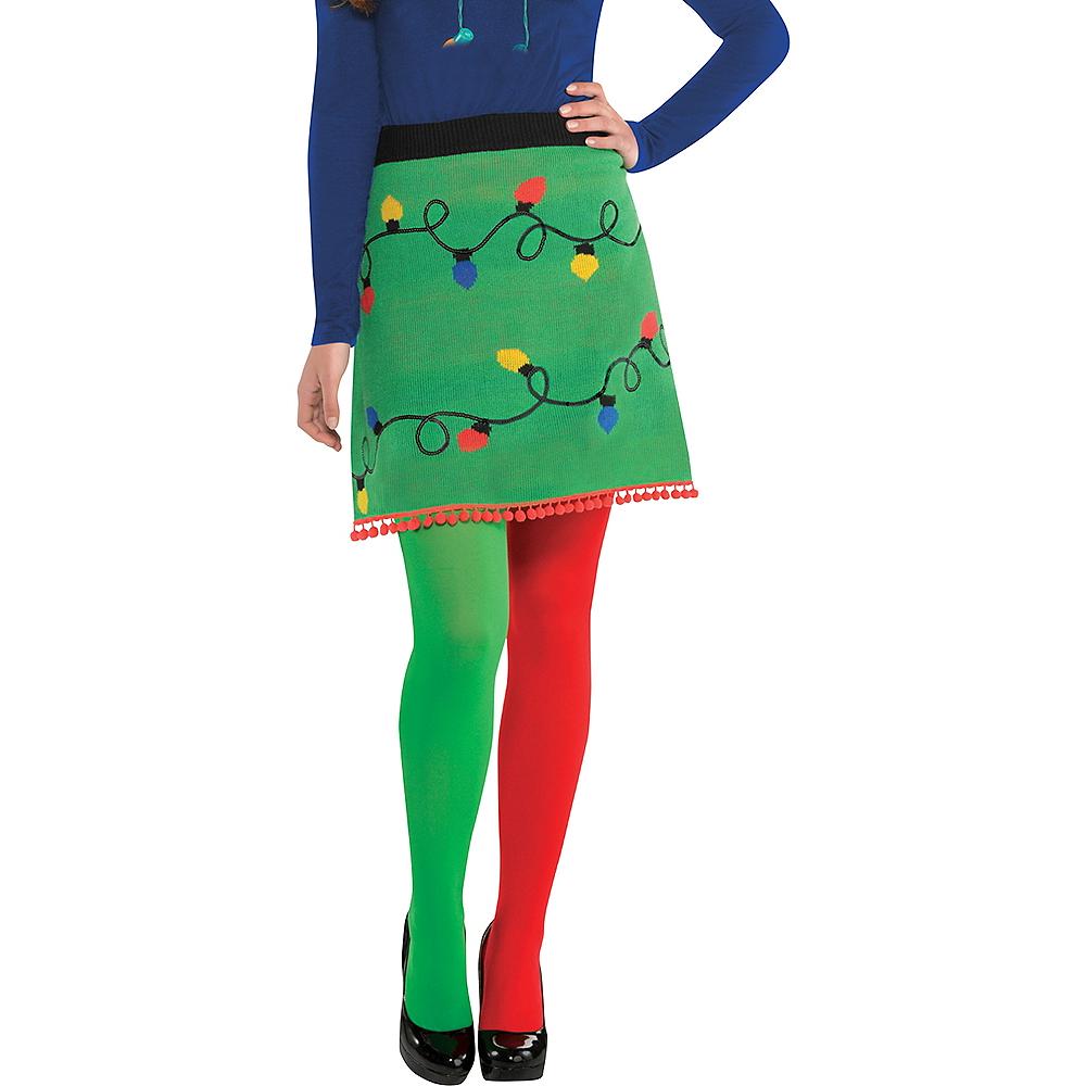 Adult Christmas Lights Ugly Christmas Sweater Skirt Image #1