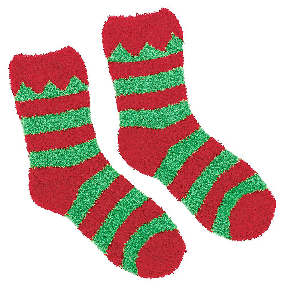 Adult Red & Green Elf Socks Image #2