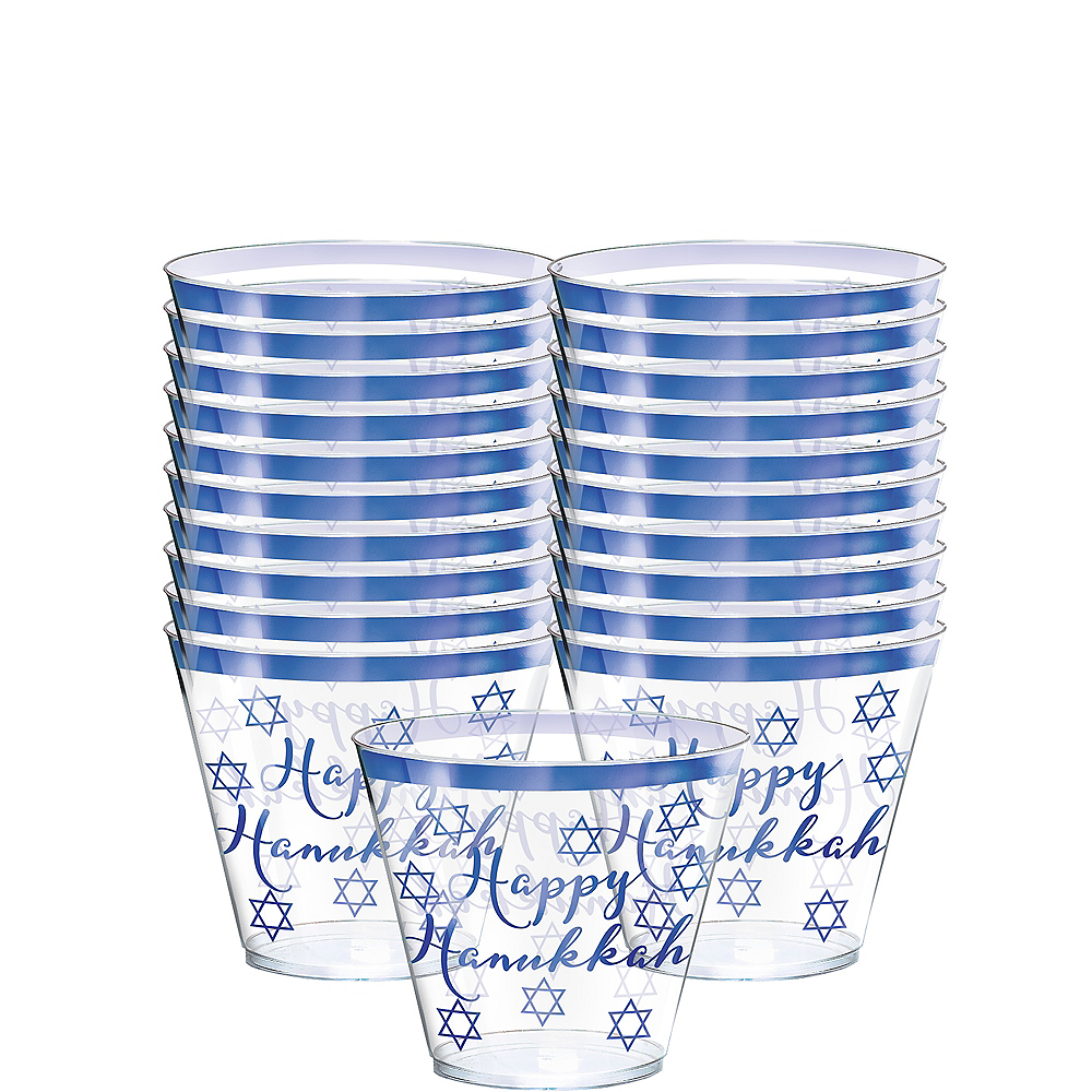 Nav Item for Happy Hanukkah Premium Plastic Tumblers 30ct Image #1