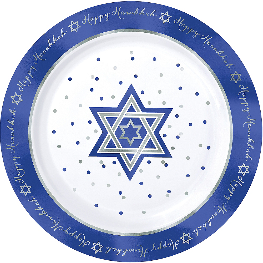 Happy Hanukkah Premium Plastic Dinner Plates 10ct Image #1