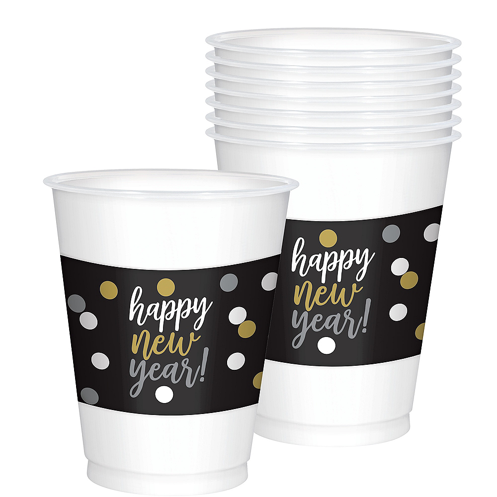 Black, Gold & Silver New Year's Cups 25ct Image #1