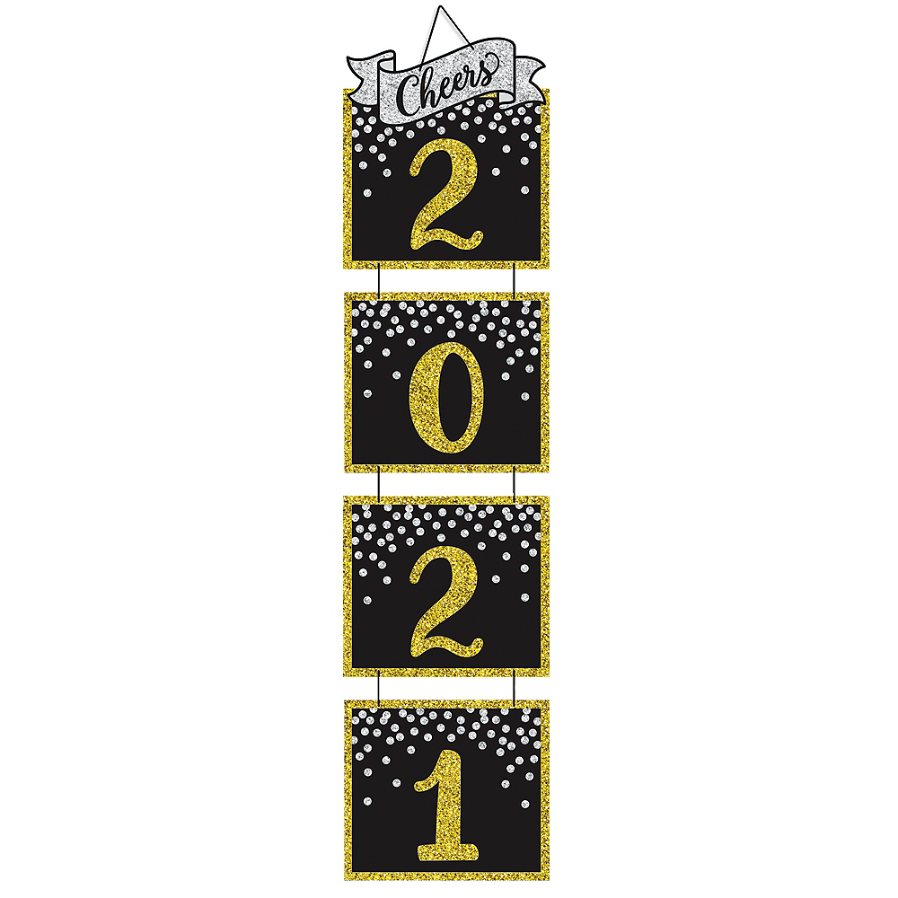 Giant Glitter Black, Gold & Silver 2020 Stacked Sign Image #1