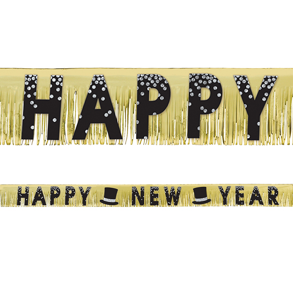 Black, Gold & Silver New Year's Fringe Banner Image #1