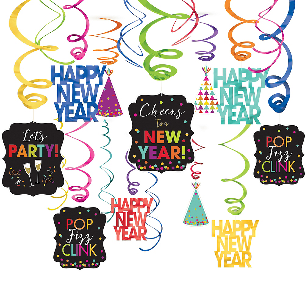 Colorful New Year's Swirl Decorations 30ct | Party City