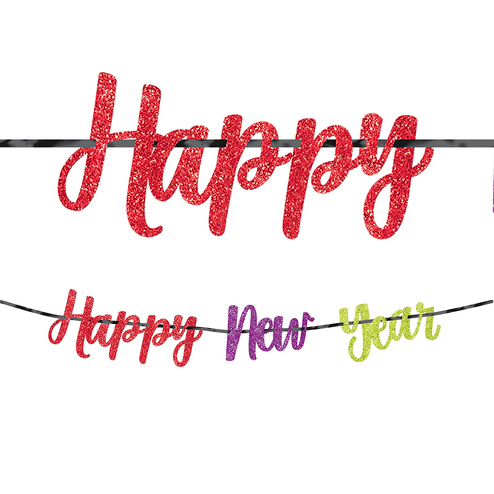 Glitter Colorful Happy New Year Letter Banner Image #1