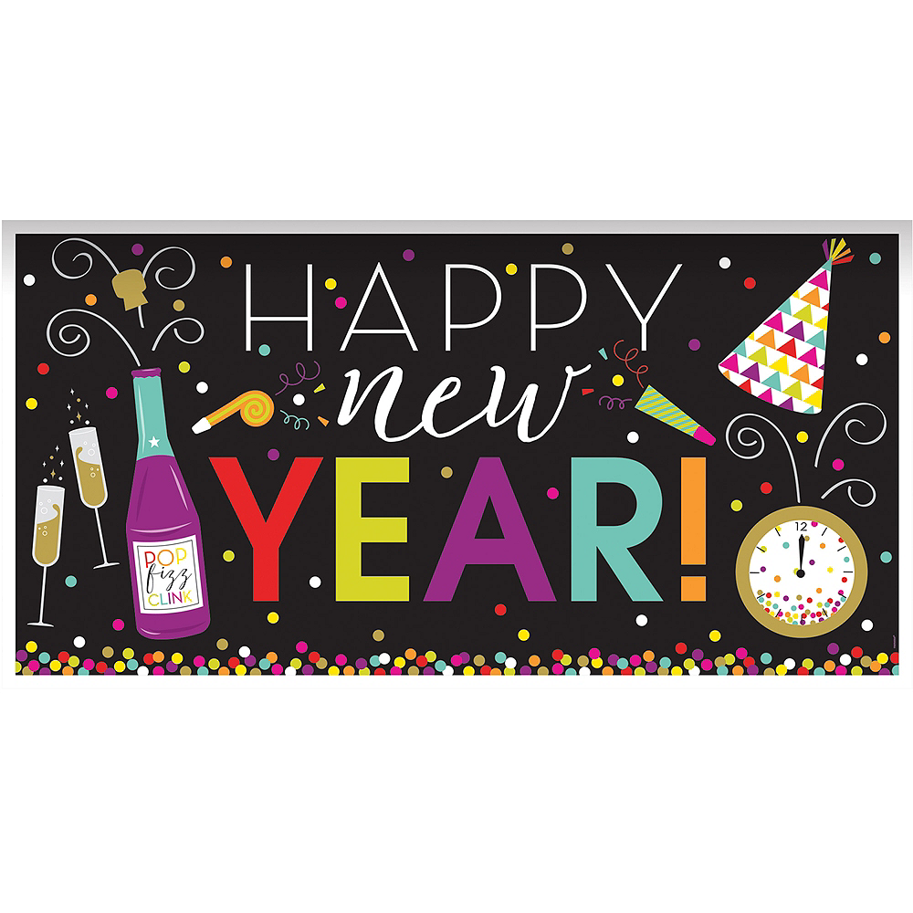 Giant Colorful New Year's Banner 65in x 33 1/2in | Party ...