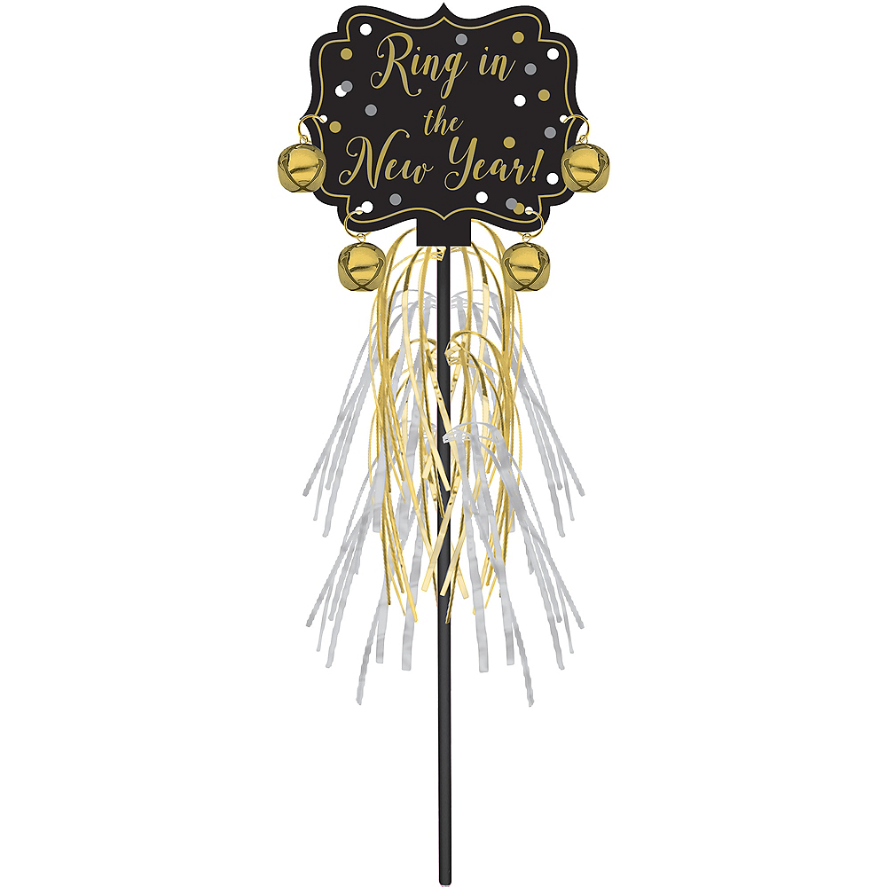 Metallic Black, Gold & Silver New Year's Jingle Bell Wand Image #1