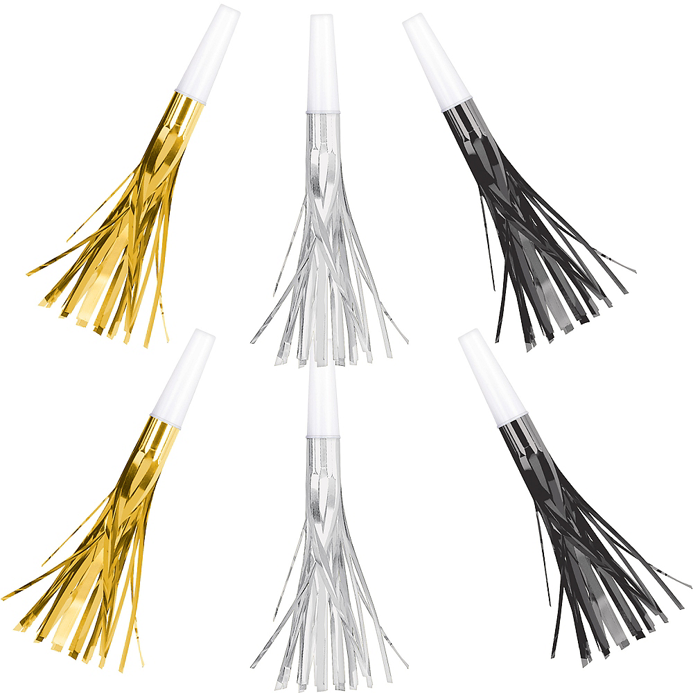 Metallic Black, Gold & Silver Fringe Party Horns 8ct Image #1