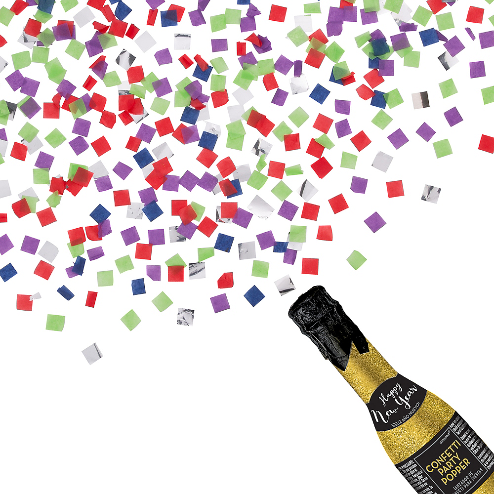 Glitter Gold New Year's Bottle Confetti Popper Image #1