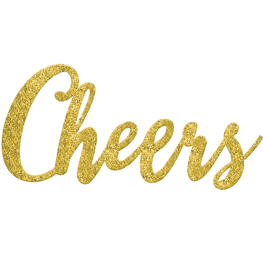 Glitter Gold Cheers Photo Booth Prop Image #1