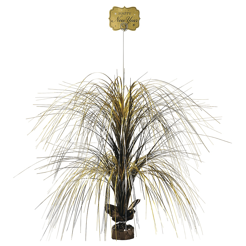 Giant Black, Gold & Silver New Year's Spray Centerpiece Image #1