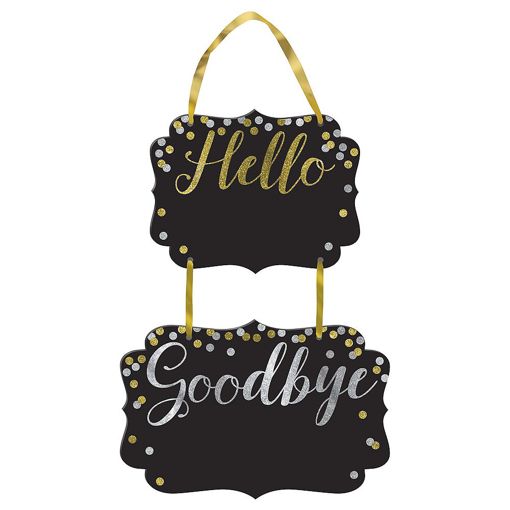 Glitter Hello Goodbye Chalkboard Sign Image #1