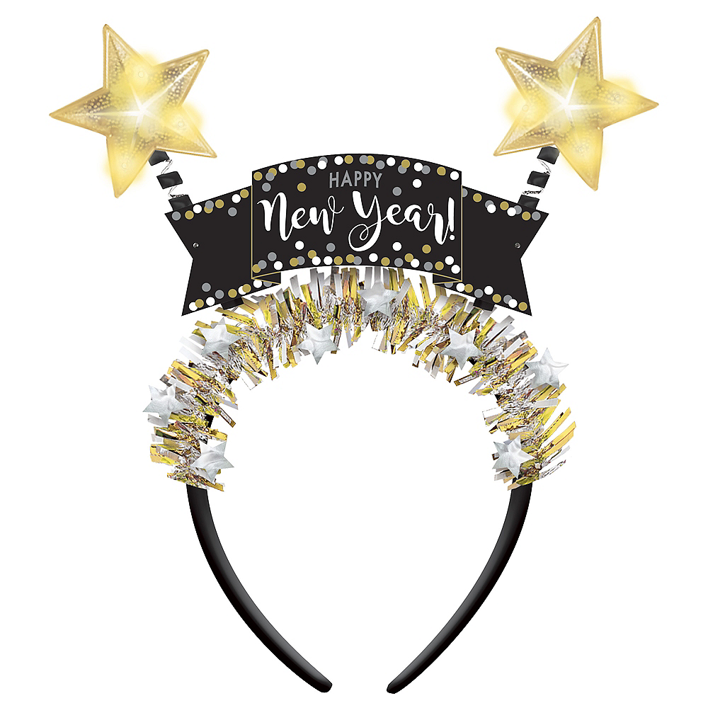 Light-Up Black, Gold & Silver New Year's Head Bopper Image #1
