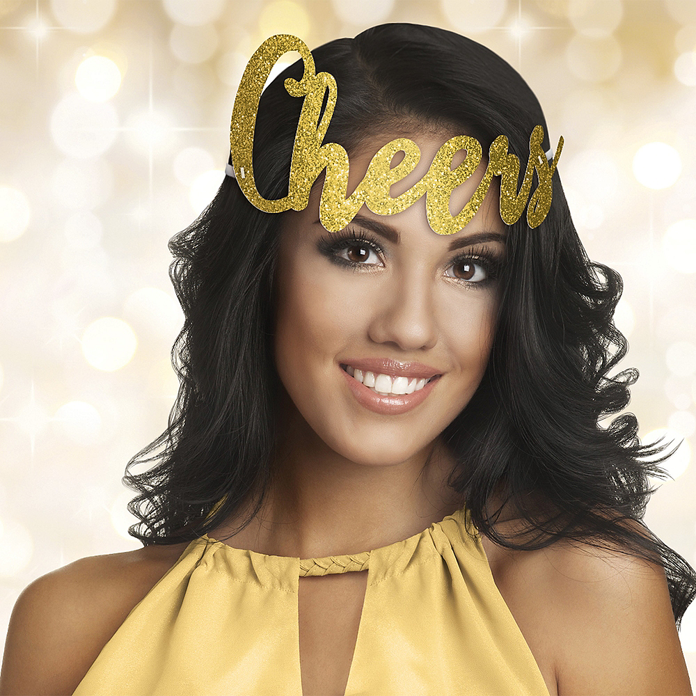 Glitter Gold Cheers New Year's Headband 9in x 4 3/4in ...