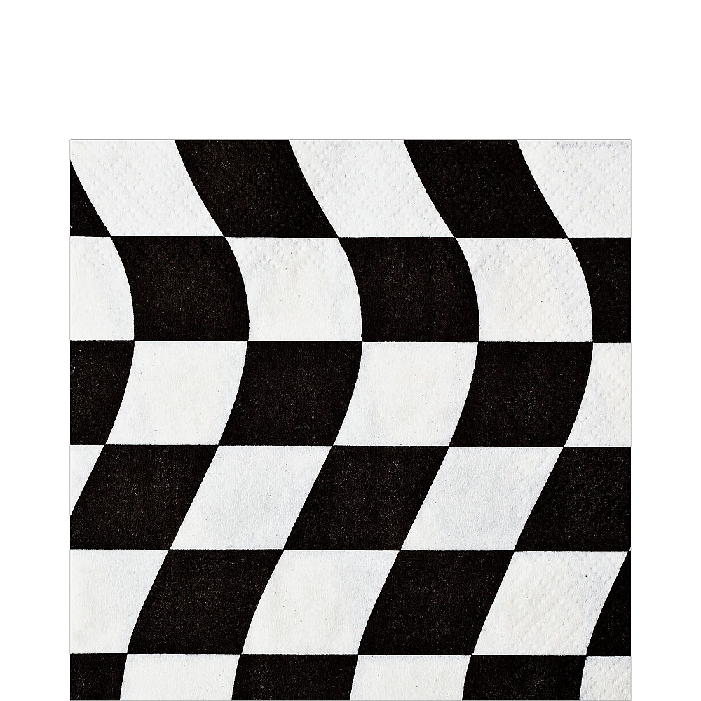 Black & White Checkered Super Tableware Kit for 16 Guests Image #3