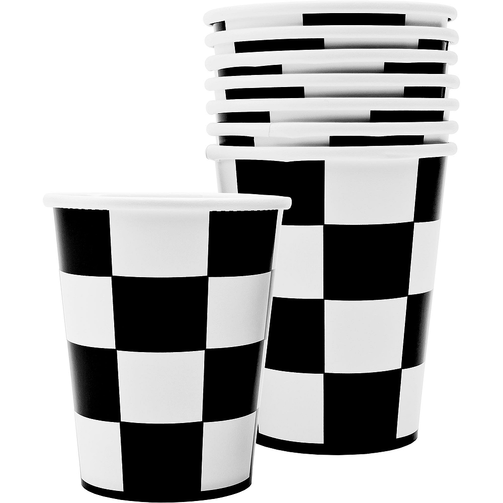 Black & White Checkered Super Tableware Kit for 16 Guests Image #4