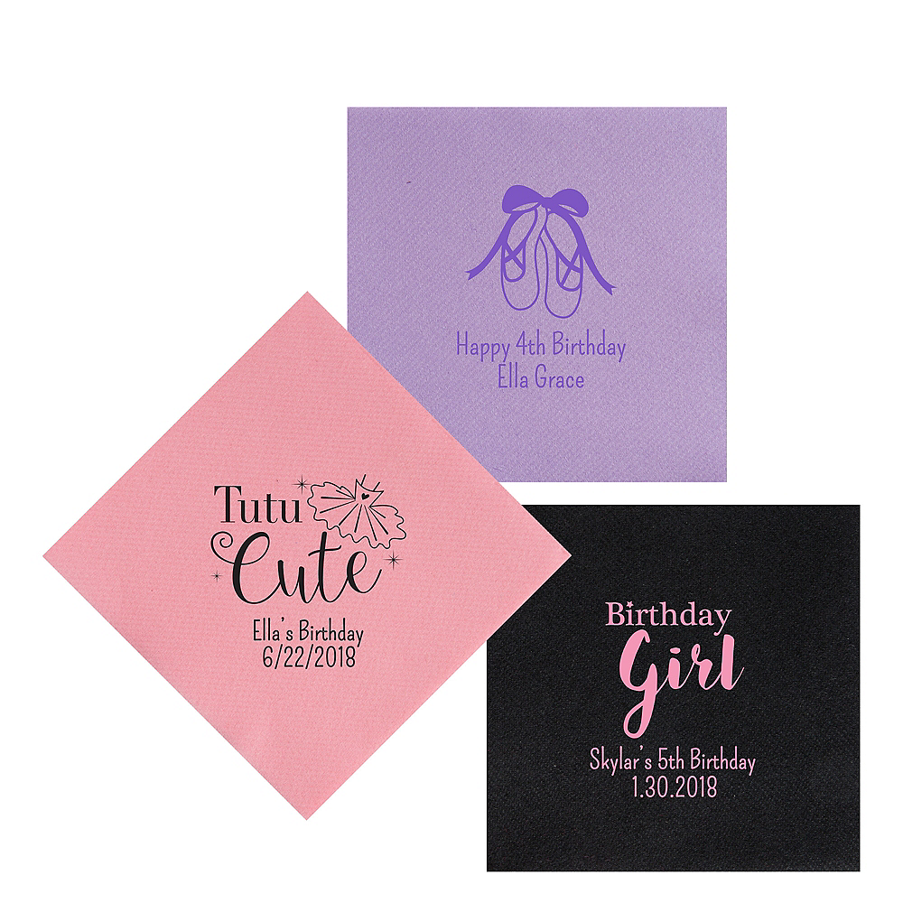 Personalized Girls Birthday Premium Lunch Napkins Image #1