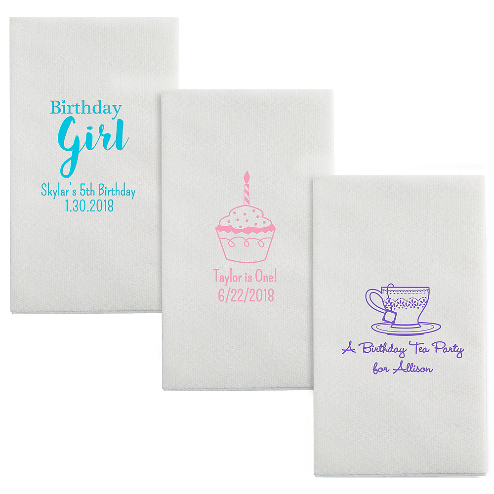 Personalized Girls Birthday Luxury Deville Side-Fold Dinner Napkins Image #1