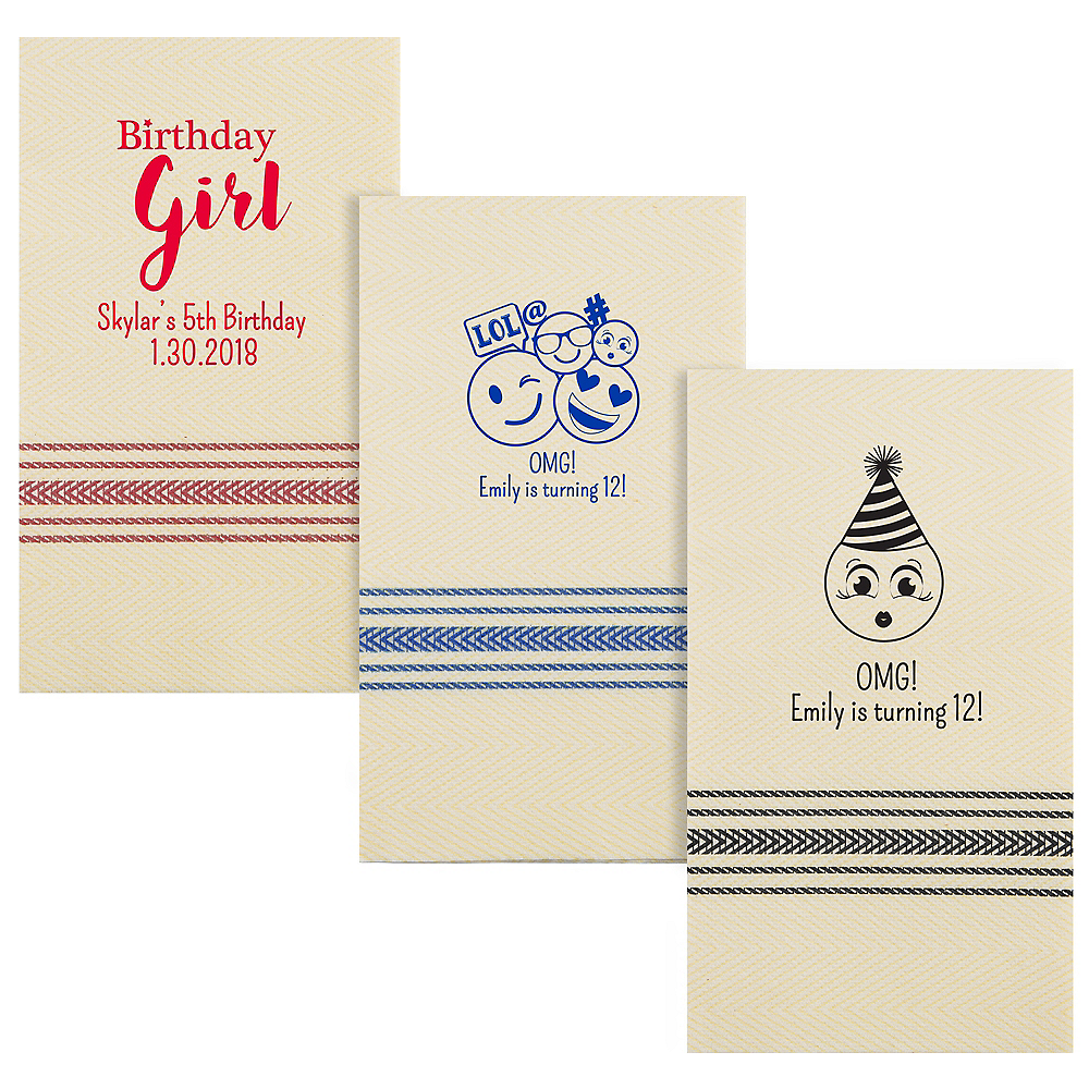 Personalized Girls Birthday Herringbone Guest Towels Image #1